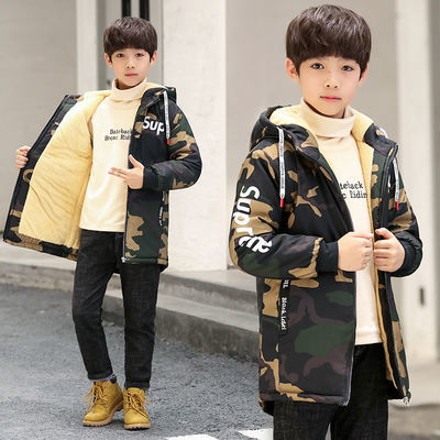 男童加绒外套儿童中长款冬装迷彩加厚棉衣童装中大童休闲保暖棉袄