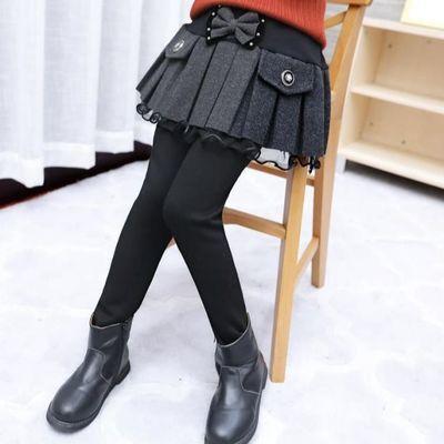 宝宝女童打底裤带裙子假两件裙裤子纯棉冬款加绒加厚儿童冬裤外穿