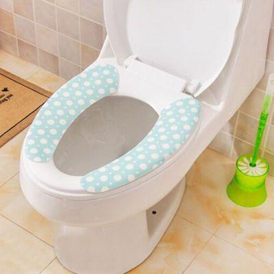 6对防尘绒面坐便垫马桶垫 清洁防尘防水粘贴式保暖护肤颜色随机发