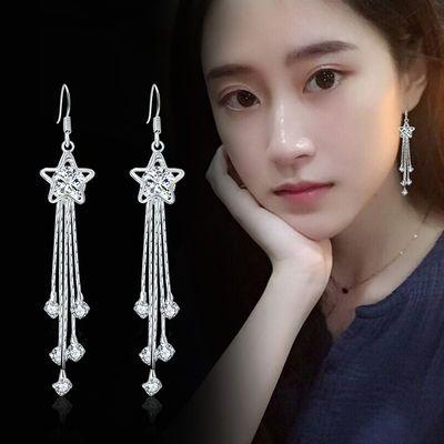 正品S925纯银耳环长款韩版水晶流苏耳环银耳坠百搭气质耳夹耳钉女