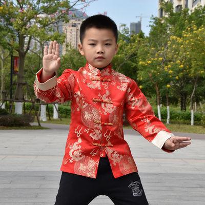 宝宝唐装男春秋薄款上衣男童唐装中国风红色新年装中大童演出服装