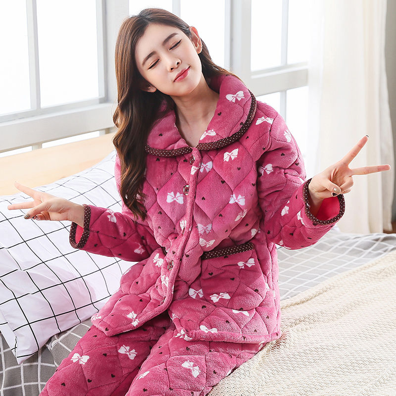冬季三层加厚加绒珊瑚绒夹棉睡衣女冬家居服套装两件套加大码棉袄