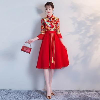 红色敬酒服新娘旗袍2020秋冬款出阁服结婚晚礼服中长款女优雅显瘦