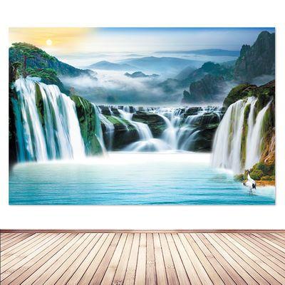 高山瀑布海报自然风景招财生财流水书房办公室山水画装饰墙贴挂画