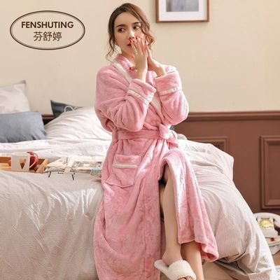 冬天睡袍女加厚法兰绒情侣浴袍加长款孕妇春秋冬季珊瑚绒睡衣长袍