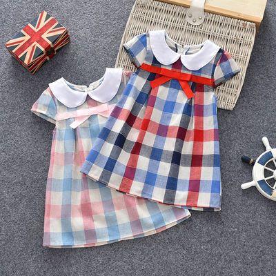 经典格子女童裙全棉白色翻领儿童短裙纯棉格子布短袖宝宝连衣裙子