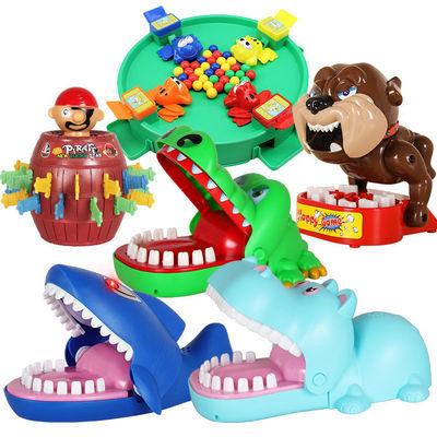 (亲子互动)咬手指鳄鱼整蛊玩具鲨鱼海盗桶青蛙吃豆游戏热卖