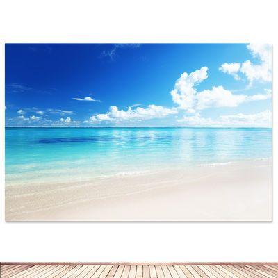 大海沙滩海边海报风景画地中海酒店房间客厅装饰碧水蓝天贴挂墙画