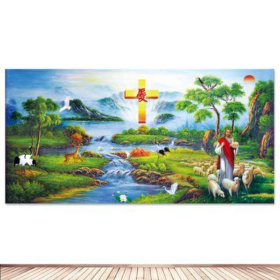 基督耶稣教墙贴画 牧羊抱羊海报 客厅装饰画教堂房间镇宅中堂挂画