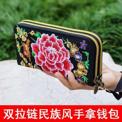 2018新款云南民族风包包绣花包复古双拉链刺绣钱包钱夹女士手拿包