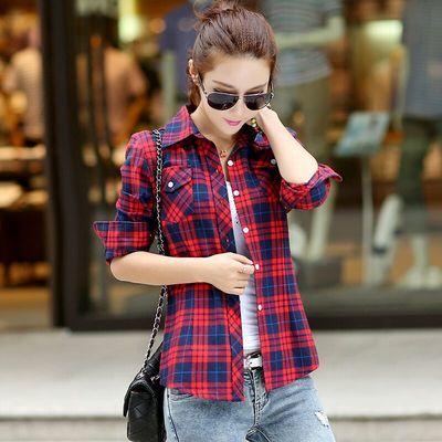 姜依轩正品不起球棉质外套春秋新款中年上衣长袖格子衬衫女衬衣