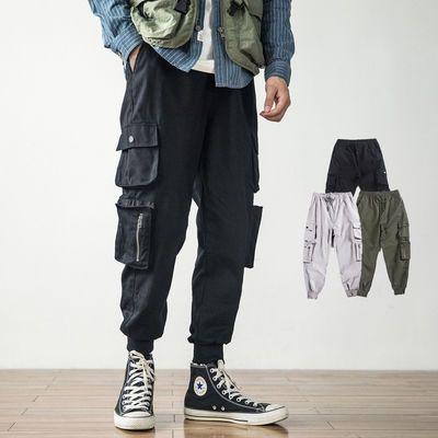 日系ins工装裤男潮牌束脚裤宽松多口袋哈伦小脚裤大码嘻哈休闲裤