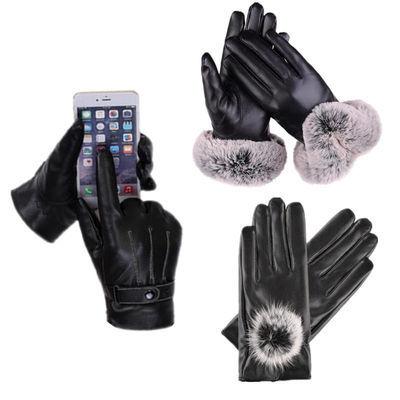 手套女男冬季触屏皮手套防水防风加绒加厚棉手套骑电瓶车男女手套