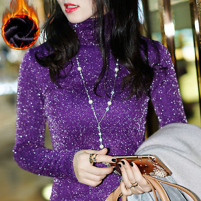 2018冬装加绒蕾丝衫长袖T恤女保暖修身高领网纱打底衫加厚上衣服