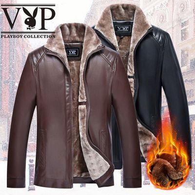春款/加绒款花花公子贵宾秋冬款加绒加厚立领皮衣男士PU皮衣夹克