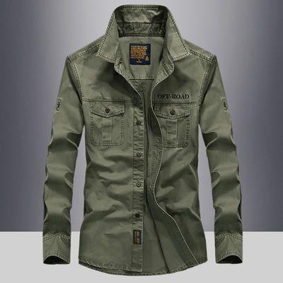 吉普战车长袖衬衫男春季休闲男装宽松大码纯棉中青年工装衬衣