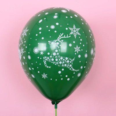 圣诞节装饰品气球春节过年圆形珠光气球印花加厚元旦圣诞图案气球