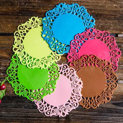 创意圆形硅胶防烫隔热垫家用蕾丝花朵防滑茶杯垫碗垫子盘垫餐桌垫