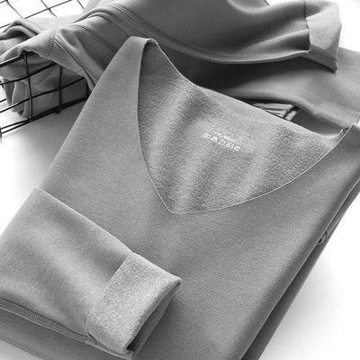 【发热保暖套装】男士无痕保暖内衣套装发热纤维加绒V领秋衣秋裤