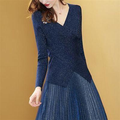 秋季套装女新款针织打底衫大码女两件套连衣裙亮丝V领仿毛衣女裙