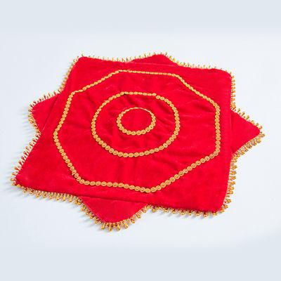 手绢花八角巾儿童双面扇舞蹈二人转加厚红色子便宜秧歌头饰一对跳