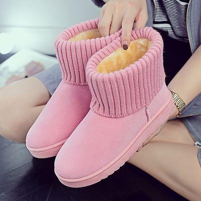 冬季雪地靴女2018厚底短筒靴子平底防滑棉鞋加厚保暖棉靴毛毛鞋女