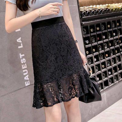 蕾丝半身裙女夏新款韩版高腰包臀短裙女春秋鱼尾裙A字裙小黑裙子