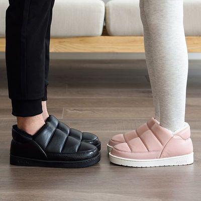 冬季包跟防水棉拖鞋月子居家居室内防滑情侣保暖厚底男士女PU皮面