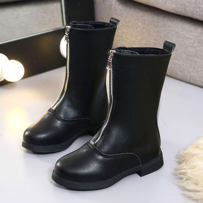 中大童雪地靴加绒二棉鞋防滑马丁靴女童靴子短靴韩版2018秋冬新款