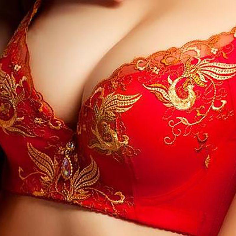 大红色内衣套装结婚新娘本命年女无钢圈聚拢小胸加厚薄款文胸罩
