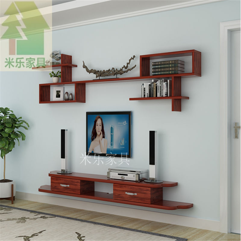 Buy Solid Wood Wall Hanging Tv Cabinet Background Wall Decorative Frame Wall Frame Frame Living Room Simple Set Top Box Shelf Partition On Ezbuy Sg