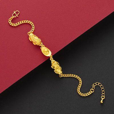欧币镀金久不褪色黄金色手链女首饰手镯仿真越南沙金网红饰品