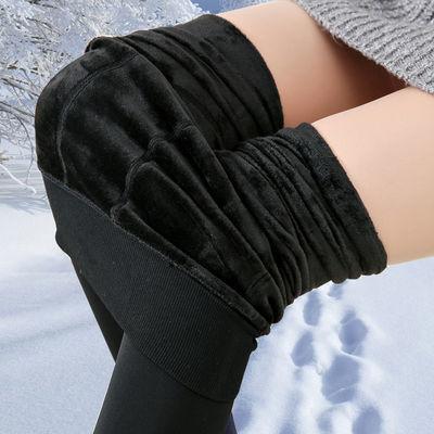2018秋冬加绒加厚女士大码外穿黑色打底裤高腰长裤小脚显瘦踩脚裤