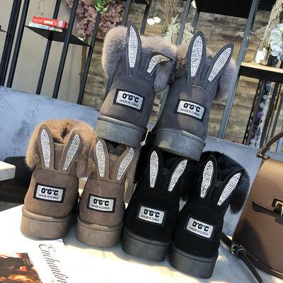 秋冬新款短筒厚雪地靴韩版百搭学生保暖防滑棉鞋毛毛鞋兔耳朵女靴