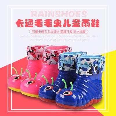 2-4岁可爱儿童雨鞋男童女童宝宝加棉水靴防滑防水幼小毛毛虫水鞋