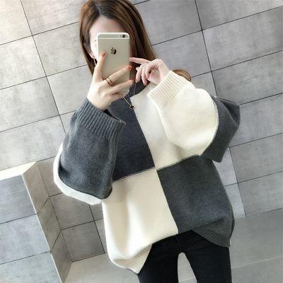【网红热销】毛衣打底女宽松毛衣女中长款宽松杏色毛衣女宽松灰色