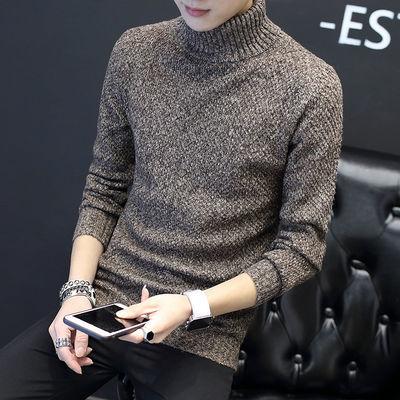 新品男士毛衣韩版翻领针织衫男装针织衫加绒加厚潮流线衣高领毛衫