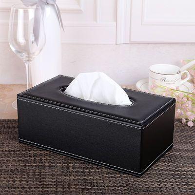 欧式奢华皮质长方形纸巾盒创意时尚纸巾抽简约餐巾抽纸盒纸抽盒