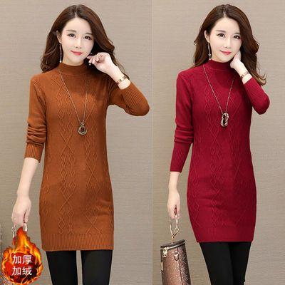 新增加绒加厚冬装新款韩版女装中长款打底衫针织衫套头长袖毛衣女