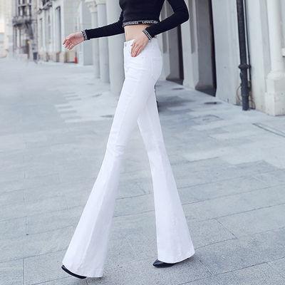 白色喇叭裤女2020新款春秋牛仔裤高腰韩版百搭显瘦长款微喇裤长裤