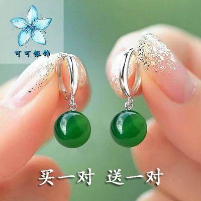 【买一送一】天然玛瑙耳环女长款韩版防过敏百搭红绿玛瑙耳扣耳坠