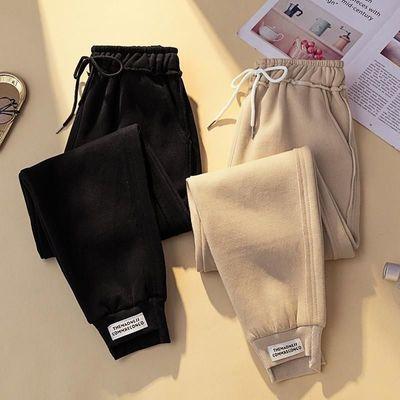 毛呢加厚萝卜裤大码女装秋冬韩版休闲长裤哈伦裤宽松显瘦直筒裤子