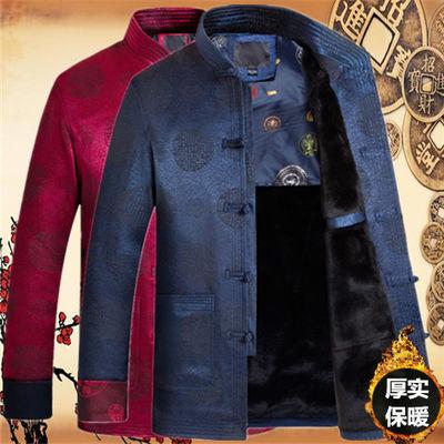 唐装男中国风复古外套秋冬中老年祝寿生日爸爸装棉衣中老年人衣服
