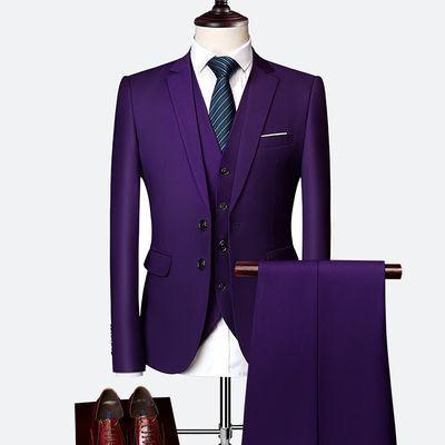 男商务西服套装修身职业装青年正装工作装西装结婚新郎礼服三件套