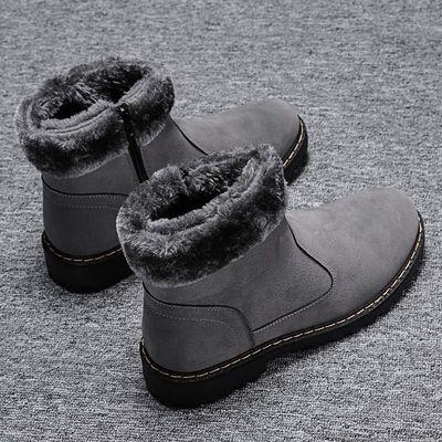 冬季男士雪地靴加绒保暖男鞋棉鞋低帮男靴马丁短靴一脚蹬防水棉靴