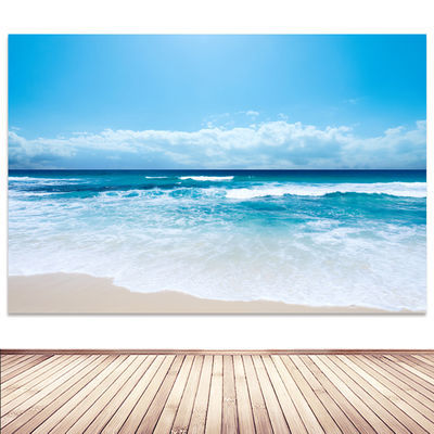 大海风景画海报沙滩碧水蓝天海边地中海酒店房间客厅装饰贴挂墙画