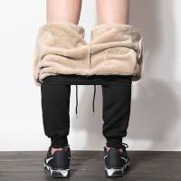 男士保暖裤棉裤男加绒加厚防寒青少年高腰内穿羽绒裤驼绒棉裤冬季