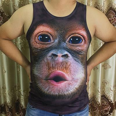 搞笑大猩猩弹力跨栏修身背心个性3D印花动物图案大码胖子男装衣服