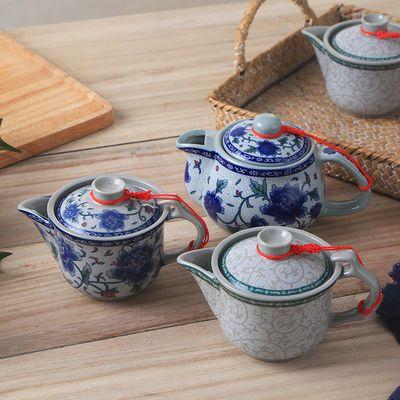 潮汕陶瓷茶壶古典茶具青花兰花冲茶杯户外便携宿舍泡茶酒楼早茶壶