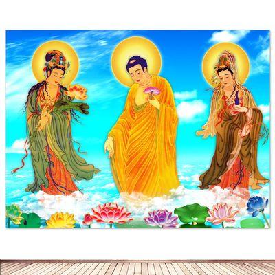 西方三圣图海报 佛像挂画 阿弥陀佛贴墙画佛堂寺庙用品丝绢布定制